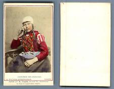 Couvée, La Haye, costume des pays bas Marken vintage carte de visite, CDV  Tir