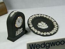 "Wedgwood "" Black Jasper Ware Small Dome "" Clock with matching round Pin Tray, !!"