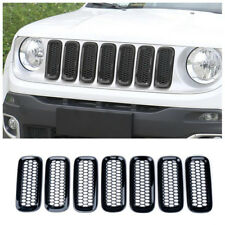ABS Front Grille Inserts Covers with Mesh Fit For 2015-2017 Jeep Renegade Black