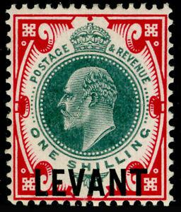 BRITISH LEVANT SG L10a, 1s dull green & carmine, LH MINT. Cat £42.
