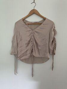 HANSEN & GRETEL L large silk rouched sleeve pewter top