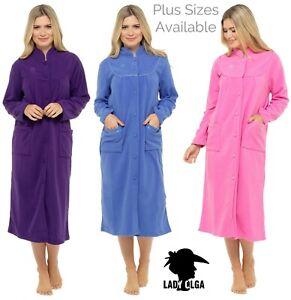 Ladies Long Warm Soft Fleece Button Front Dressing Gown Housecoat Nightwear
