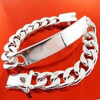 A411 GENUINE REAL STERLING SILVER S/F SOLID MENS ID INITIAL BRACELET BANGLE