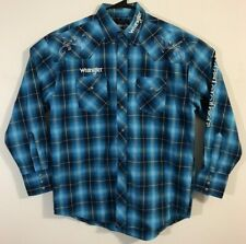 Wrangler Logo Men's Blue Plaid Pearl Snap Western Shirt Large