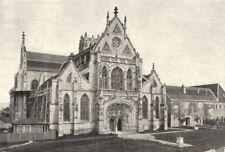 AIN. Brou. Façade de L'Église 1895 old antique vintage print picture
