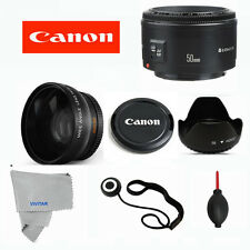 Canon EF 50 mm F/1.8 II Lens +WIDE ANGLE +HOOD FOR CANON REBEL 7D 6D 60D X2 XTI