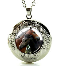 Silver Tone Horse Locket Pendant Necklace & Gift Box Fast Shipping