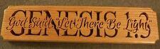 Genesis 1.3 wooden religious plaque red oak