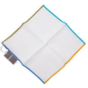 NWT RODA Multicolor Contrast Quadrant Border Print Linen Pocket Square