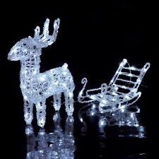 64 LED Rentier mit Schlitten Weihnachten Weihnachtsbeleuchtung Deko Beleuchtung