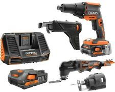 RIDGID Drywall Screwdriver Multi-Tool Rotary Cutter Combo Kit 18V Lithium-Ion