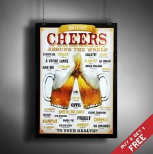 A3 BEER * CHEERS AROUND THE WORLD Retro Vintage SIGN Poster Print Bar Pub Decor
