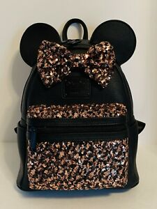 Disney Belle Bronze Minnie Mouse Sequined Mini Backpack Loungefly Black NWT
