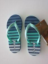 Reef Toddler Girl's 7/8 Little Stargazer Flip Flops Sandals Green Blue NWT
