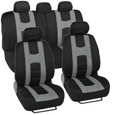 Car Seat Covers Sport Stripes Black and Gray Front and Rear Bench Full Set