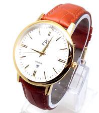 063P Men Latest Fashion Wrist Watch Brown Leather Band Elegant White Smart Dial