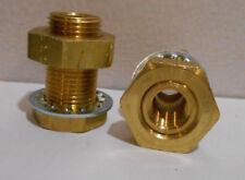 "Lot of 2 New Brass Bulkhead Hose Fittings 1/4"" npt ID 1/2"" npt OD 1 1/2"" Long"