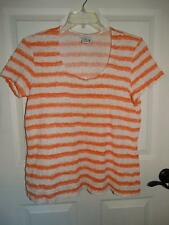 Women's JACLYN SMITH Peach & White Striped Short Sleeve Shirt Top Plus Size XXL