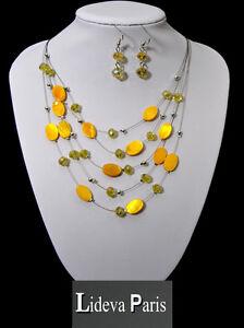 Set Kette Ohrringe Halskette Schmuckset Paris Oval Perlmutt/Glas Perlen Honig