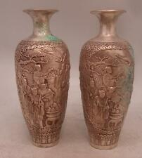 Pair of Chinese Bronze Vases with Silver Patina - 23.5cm High - Gods / People