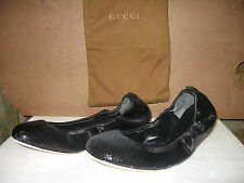 Gucci Ballet Flats Black Sequined Leather Ballerina
