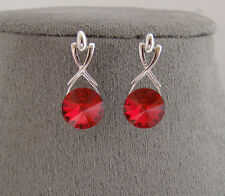SWAROVSKI CRYSTAL ELEMENTS RUBY RED DANGLE EARRINGS PLATINUM FINISH