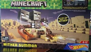 Minecraft Hot Wheels Wither Summon Trackset Playset Swivel Launcher Sealed Misb!