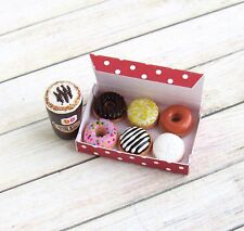 Dunkin' Donuts Box Latte Handmade Dollhouse Miniature Food Polymer Clay