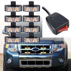 8Pcs Amber 2-LED Car Front Grille Strobe Light Bar Warning Beacon For SUV Pickup