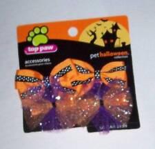4 Halloween dog hair bows pet barrettes clips cat