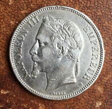 "#F655 - RARE - 5 Francs 1869 PETIT ""BB"", Strasbourg - Napoléon III Tête laurée"