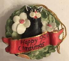 More details for colour box peter fagan enesco christmas cat wreath boxed usa pennywhistle lane