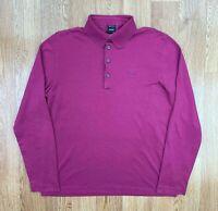 HUGO BOSS Mens Long Sleeve Polo Shirt   Slim Fit PIMA COTTON   Medium M Pink