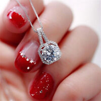 Women Necklace Invisible Silver Chain Choker Jewelry Pendant Crystal Charm