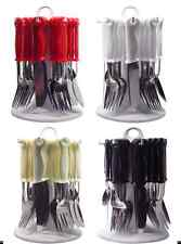 24PC CUTLERY DINNER SET FORKS TEASPOONS LOOP DRAINER STAND COLOUR BLACK RED NEW