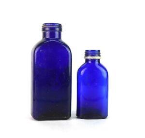 Vintage Collectible Two Cobalt Blue Glass Bottles No Caps Multi-utility G16-161