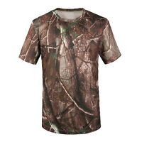 Camouflage T-shirt Men Breathable Sport Camo Tees-Tree camouflage XL ED