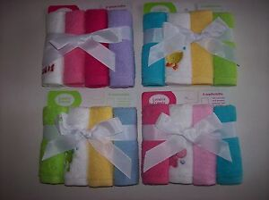 """Luvable Friends Washcloth 4 Pack Boys Girls Size 10x10"""" Select Style NIP"""