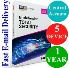 Bitdefender Total Security 5 Device / 1 Year + VPN (Account Subscription) 2019