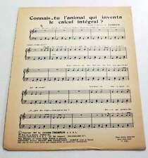 Partition vintage sheet music EVARISTE : Connais-tu l'Animal Qui Inventa * 60's