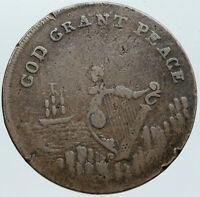 1795 ENGLAND Ireland DUBLIN UK God Grant Peace  Antique Half Penny Coin i88660