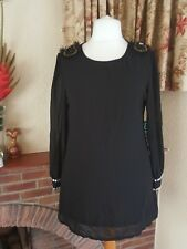 BLACK SHEER SHORT SHIFT DRESS  WITH BEADING BY KOKO  - SIZE 16 18 PARTY