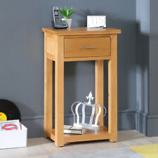 London Solid Oak Small Telephone Hall Console Table - Side Low Shelf - UK23