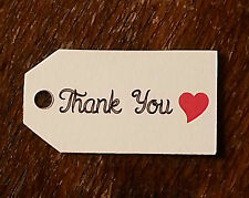 10 Small White THANK YOU RED HEART Luggage FAVOUR TAGS Wedding Gift Label Party