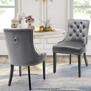 Dining Chairs Velvet Studded Fabric Lounge Padded Accent Side Chair Home Kitchen