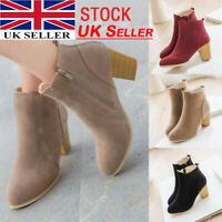 Womens Black Ankle Boots Low Mid Block Heels Chelsea Zip Up Shoes UK Sizes 3-7.5