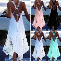 NEW Women's Summer Sleeveless Lace Summer Casual Beach Party Irregular Dress NG