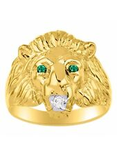 Diamond & Emerald Lion Head Ring Gold Plated Silver BSL-MR3118EMY