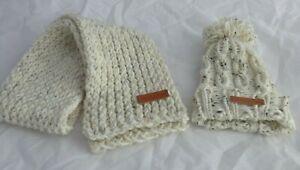 Sandstorm Tweed Cable pompom hat & Scarf Set -Toddler to kids - hand made- New