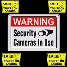 LARGE ALUMINUM METAL HOME SECURITY SYSTEM CAMERAS WARNING YARD SIGN+STICKER LOT